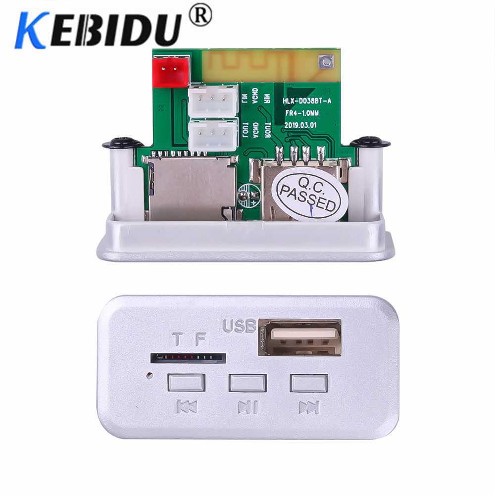 Kebidu 12V Mini Wireless Bluetooth 5.0 MP3 Decoder Board Audio Module MP3 WMA Support USB FM TF Radio AUX Input For Car Radio