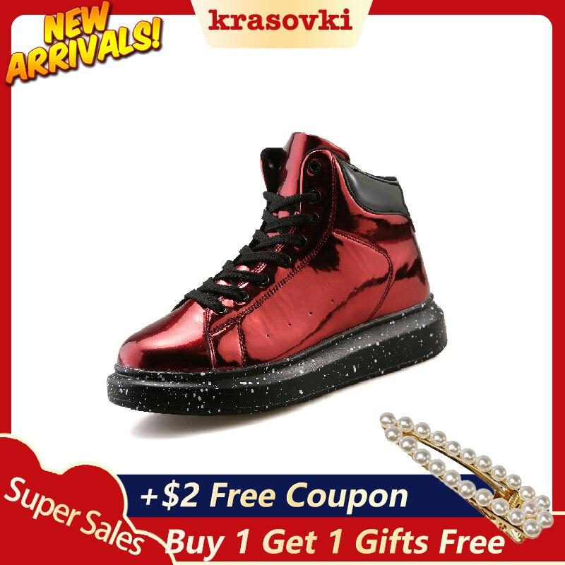 Krasovki automne hiver nouveau cuir peint fond épais haut conseil supérieur chaussures livraison directe mode miroir chaussures en cuir chaussures