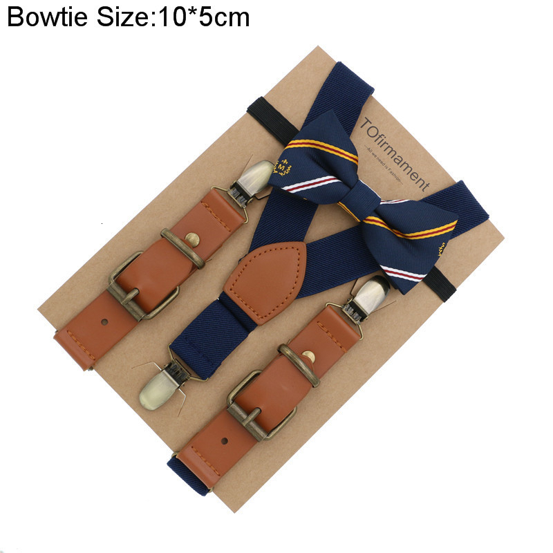 Love Leather Shape Kids Suspender Bow Tie Ring Bear Boy Birthday Set Kraft Paper Packed Gift Adjustable Children Use