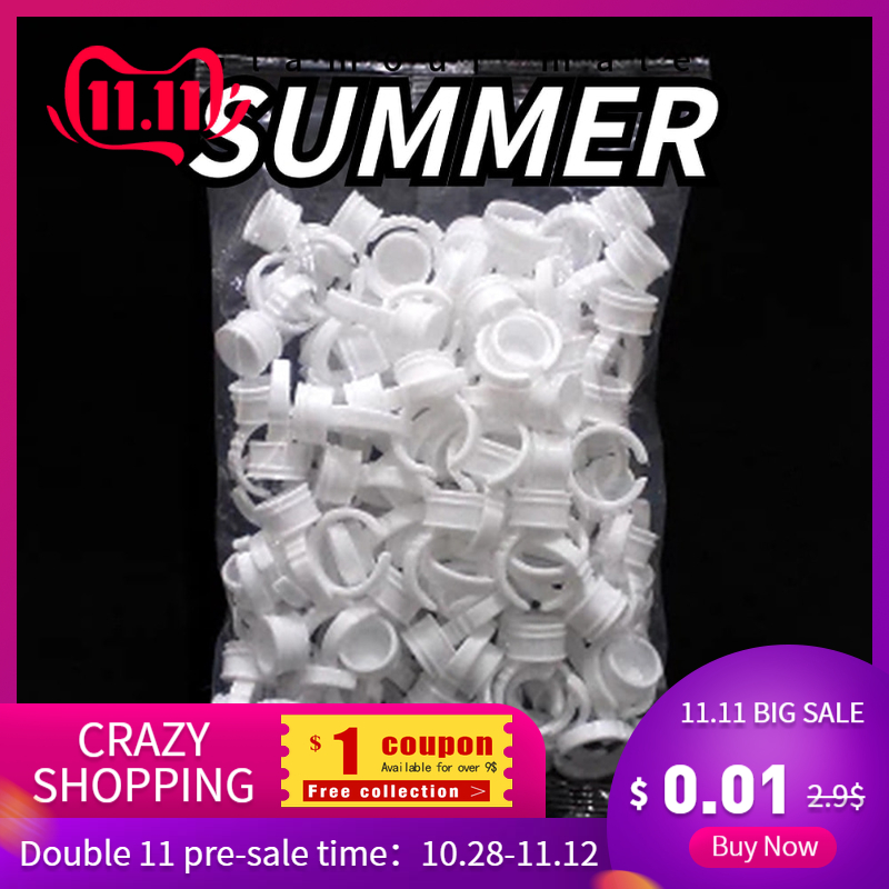 100pcs Disposable Permanent Makeup Ring No Divider Medium Size Tattoo Ink Eyebrow Lip Tattoo Pigments Holder Rings Container/Cup
