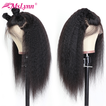 Lace Front Human Hair Wig Kinky Straight Wig Pre Plucked With Baby Hair Mslynn Brazilian Remy 13x4/13x6 Lace Wigs For Women