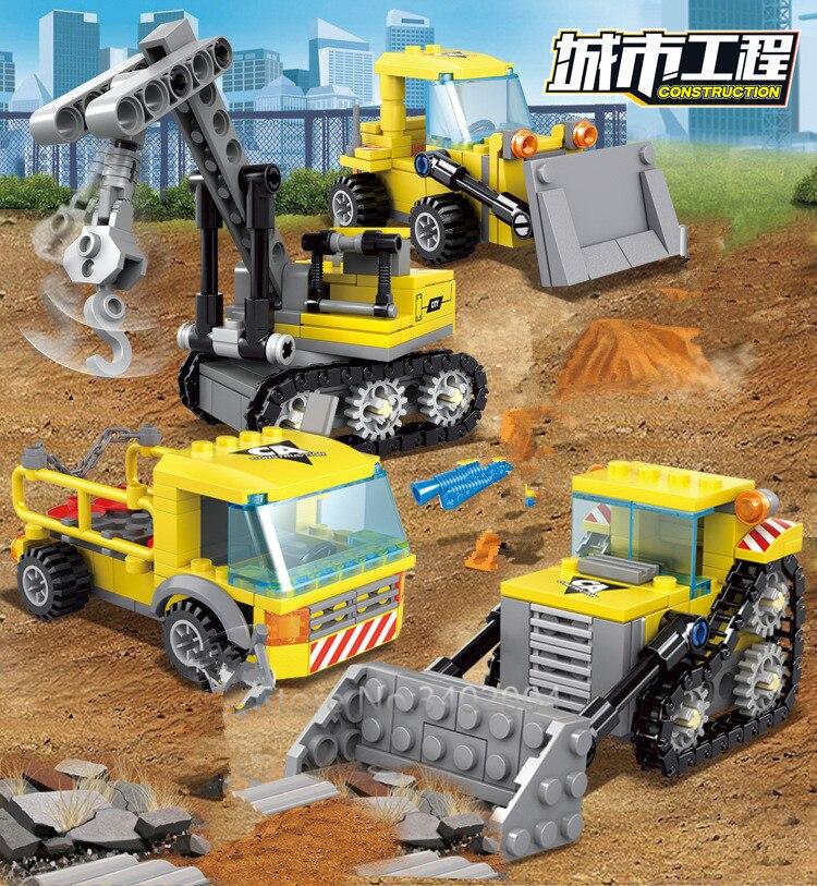 457Pcs City Engineering Heavy Crane Transporter Bulldozer Excavator Bricks LegoINGs Building Blocks Figures Toys Christmas Gifts in Blocks from Toys Hobbies