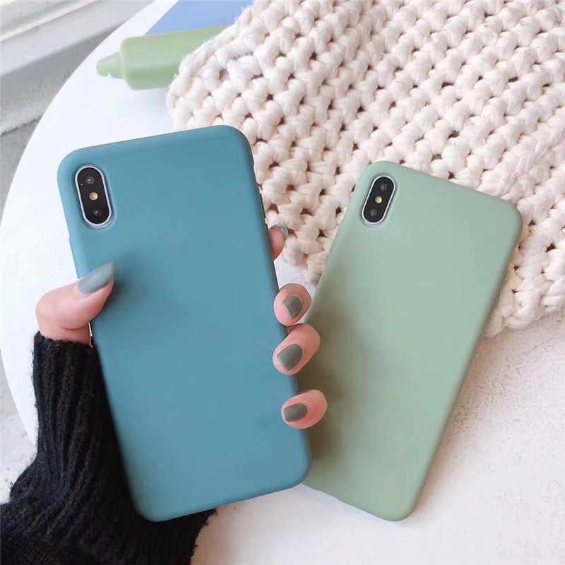 חמוד מט מוצק סוכריות מקרה טלפון עבור Iphone 11 מקרה 11 פרו מקס Xs Max Xr פשוט סיליקון מקרה עבור iphone 7 6s 8 בתוספת רך כיסוי