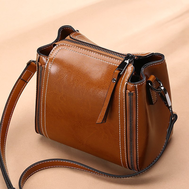2019 Spring And Summer New Style Hide Substance WOMEN'S Bag Cowhide Shoulder Mini Small Bag Retro Versatile Genuine Leather Squa