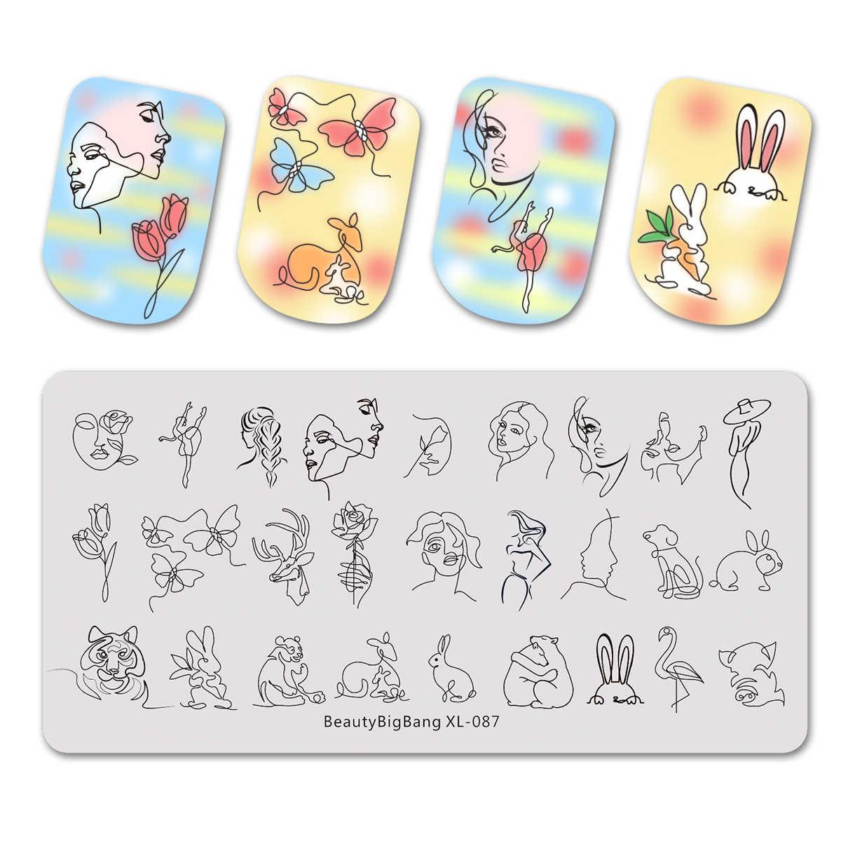 Beautybigbang 6*12cm placas de carimbo do prego modelo do prego listrado flor animal padrão prego carimbo arte do prego imagem modelo