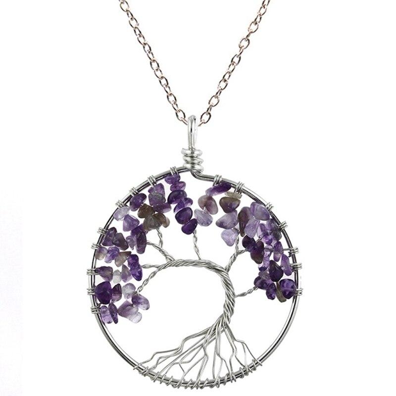 7 Чакра кварцевый и из натурального камня Древо жизни кулон ожерелье для женщин кристалл натуральный камень ожерелье s Подвески рейки ювелирные изделия