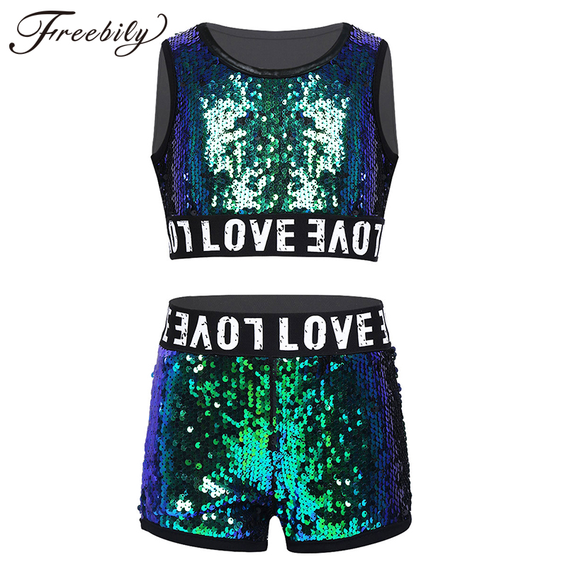 Kids Teens Shiny Sequins Stage Performance Street Dancing Crop Top With Shorts Set Girls Ballroom Jazz Hip Hop Dance Costume Set