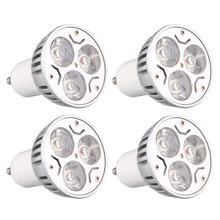 4 pieces GU10 3W 3LED dimmable warm white high power LED spotlight Spotlight Fixture(China)