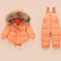 Winter Baby Girls Jumpsuit Fashion Fur Hooded White Duck Down Coat+thick Parka Pants 2pcs Snowsuit Children Clothing Outerwear