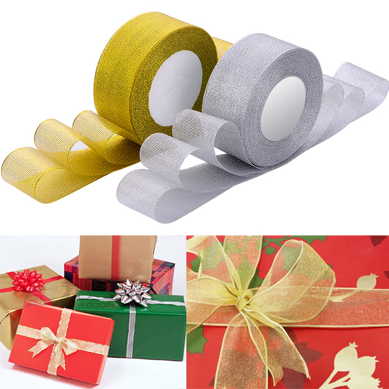 25Yards/Roll Gold Silver Silk Satin Ribbon For Crafts Wedding Decorative DIY Organza Onions Ribbons Bow Christmas Gift Supplies