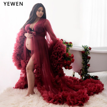 Custom Burgundy Formal Evening Dresses Long Women V Neck Full Sleeves Ruched Organza Evening Dresses 2020 New Dress Party YeWen