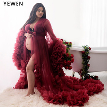Evening-Dresses Yewen Maternity-Gowns Burgundy Party Formal V-Neck Full-Sleeves Custom