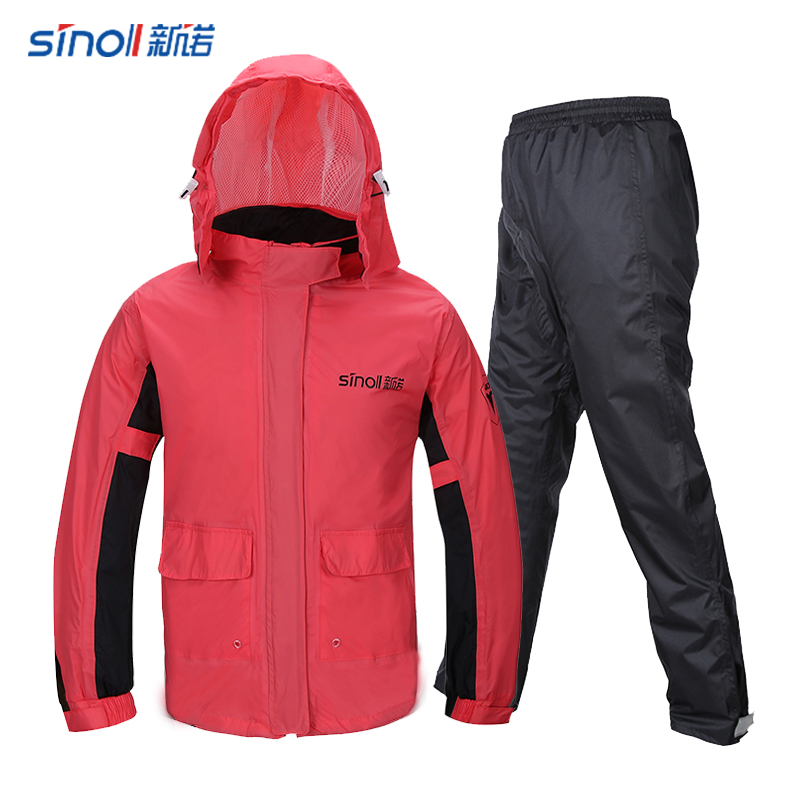 Waterproof Nylon Raincoat Women Pants Set Hiking Outdoor Ladies Hooded Raincoat Vinyl Pink Impermeable Mujer Rain Gear JJ60YY