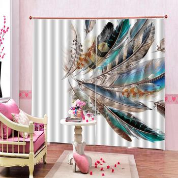 Customized size Luxury Blackout 3D Window Curtains For Living Room Bedroom peacock feather curtains home drapes