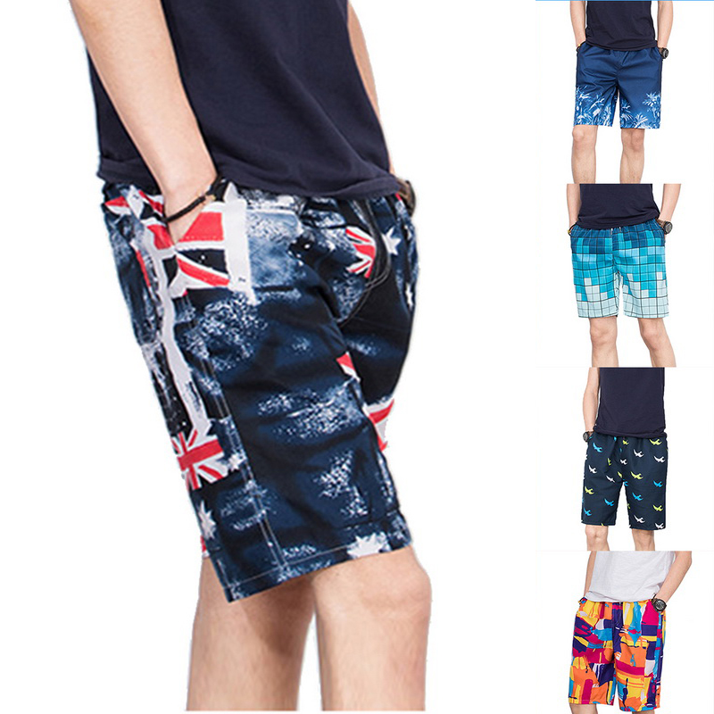 Fitness Swiming Men's Shorts 2020 New Printed Loose Drawstring Beach Quick Dry Summer Board Casual Plaid Board Male Shorts