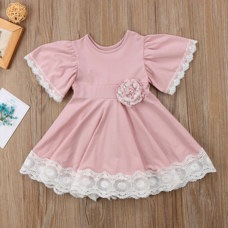 Kids Baby Girls Dress Lace Flower Party Dress Short Sleeve Solid Dress Clothes