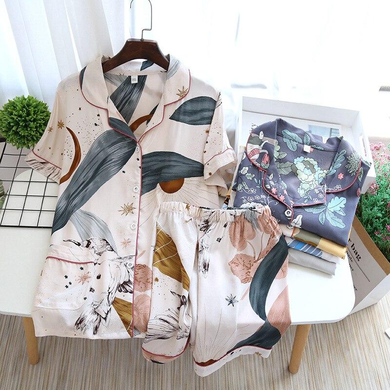 JULYS SONG-Pijama informal de viscosa para mujer, ropa de dormir de manga corta con cuello vuelto, pantalones cortos estampados para el hogar