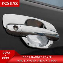Akcesoria z ABS chromowanego konstrukcja klamki drzwiowej samochodu wstaw miska dla Toyota Hilux Vigo 2012 2013 2014