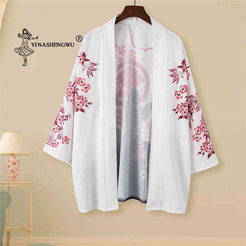 Kimono Cardigan Yukata Women Japanese Kimono Traditional Summer Carp Print Loose Shirt Kimono Femme Casual Coat Cosplay Costume