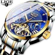LIGE – montre mécanique automatique à Tourbillon pour homme, marque de luxe, en acier inoxydable, sport, 2020