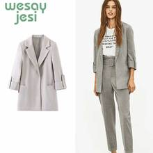 Women England office lady tailored collar solid color blazer feminino women mujer 2019 blazers and jackets