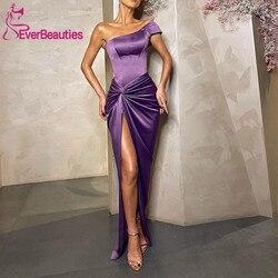 Robe De Soiree Satin Mermaid Evening Dress Long 2020 Side Split Formal Dress One Shoulder Sukienka Dluga Wieczorowa Dress Party