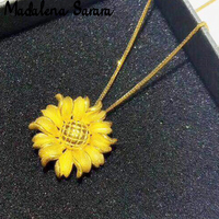 MADALENA SARARA Pure 24k Gold Pendant Necklace Sunflower Style Women Gold Jewelry