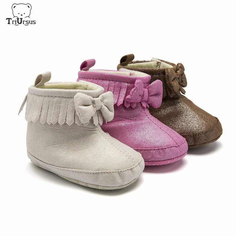Baby Girl Winter Boots Soft Sole Toddler Fringe Boots Bowknot Patent Leather Toddler Fur Boots For Newborn Baby Girl 0-24 Months