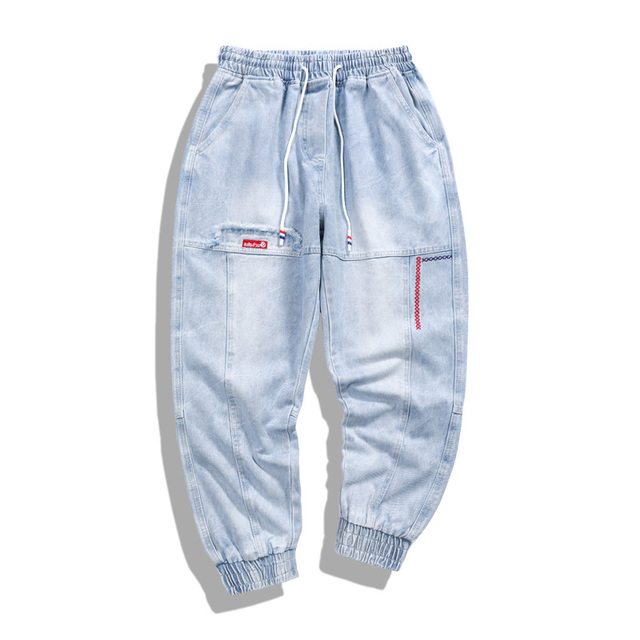 Hip Hop Streetwear Harem Jeans Pants Men Loose Joggers Denim Casual Sweatpants Korea Ankle length Trousers 5