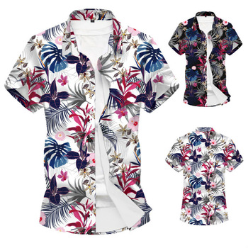 Large Size Summer Short Sleeve Shirt Men Print Shirts Mens Blouse Turn-down Collar Males High Quality Clothing Hawaii Beach Tops men lion print high low blouse