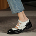 Women Genuine Leather Oxford Shoes Round Toe Black White Lady Lace Up Brogues Loafers Casual Shoes for Women Leather Shoes 2021