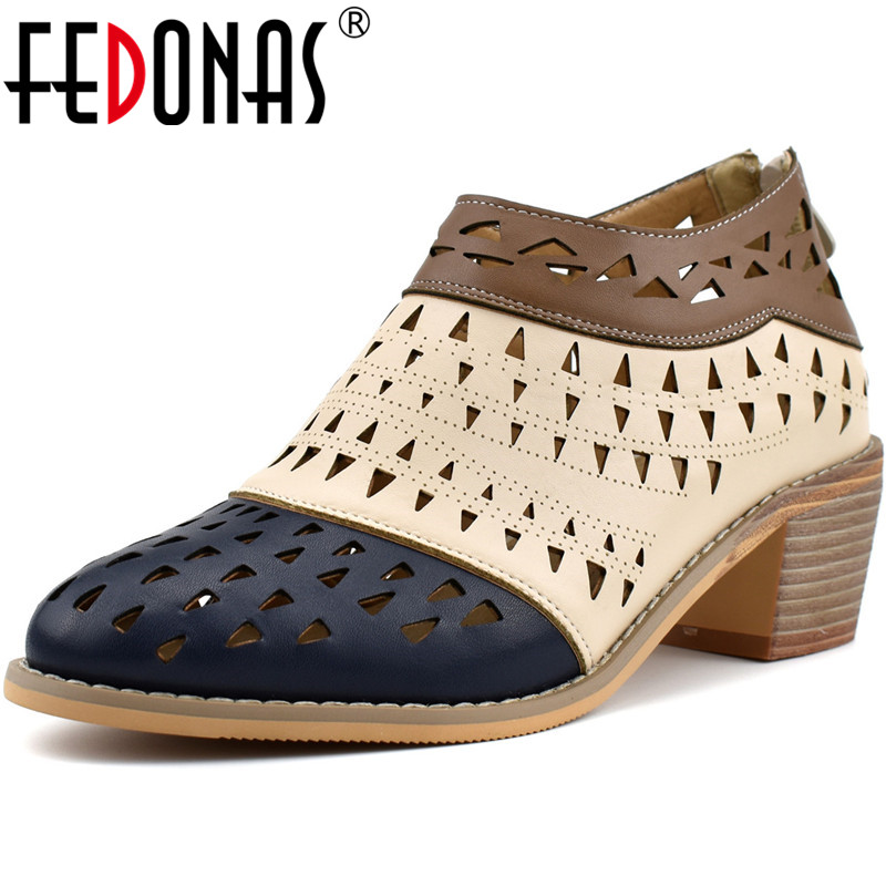 FEDONAS Fashion Women Back Zipper Pumps Thick Heels Retro Women Spring Summer Shoes New Arrival Office Working Shoes Woman
