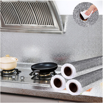 Kitchen Self Adhesive Oilproof Stickers Wallpaper Home Decor High Temperature Cabinet Stove Waterproof Aluminum Foil Wall Papers недорого