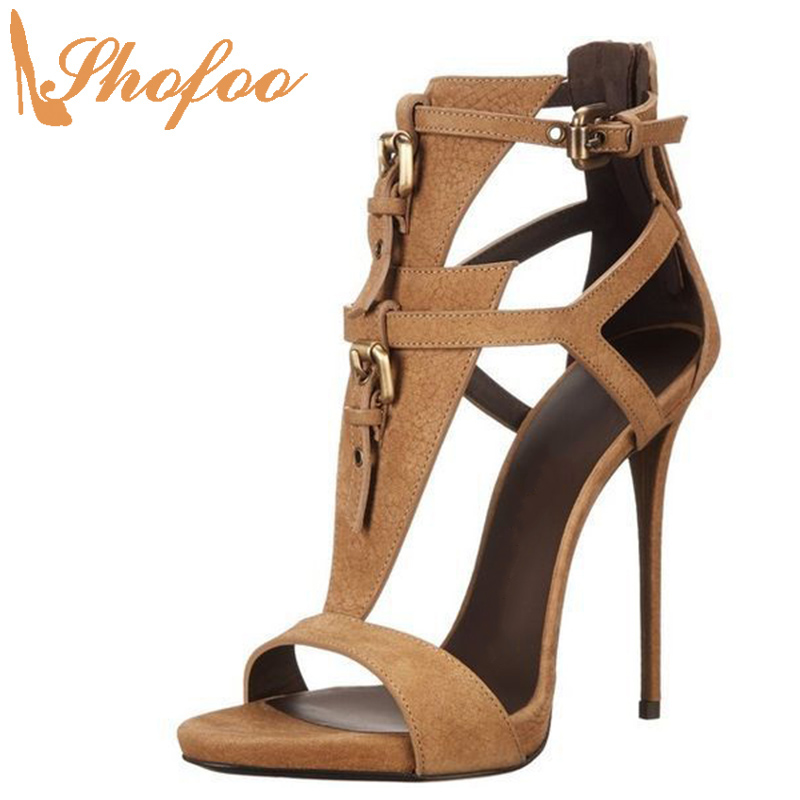 Brown  Open Toe Sandals High Thin Heels Female Shoes Buckle Strap Large Size 11 14 Ladies Summer Fashion Office Mature Shofoo
