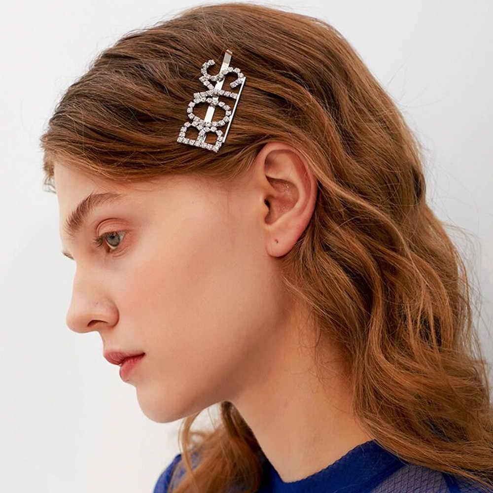 2019 Hot Fashion Kata Kristal Berlian Imitasi Jepit Rambut Hairdryer Rambut Klip Rambut Klip Grip Pin Barrette Hiasan Rambut Aksesoris