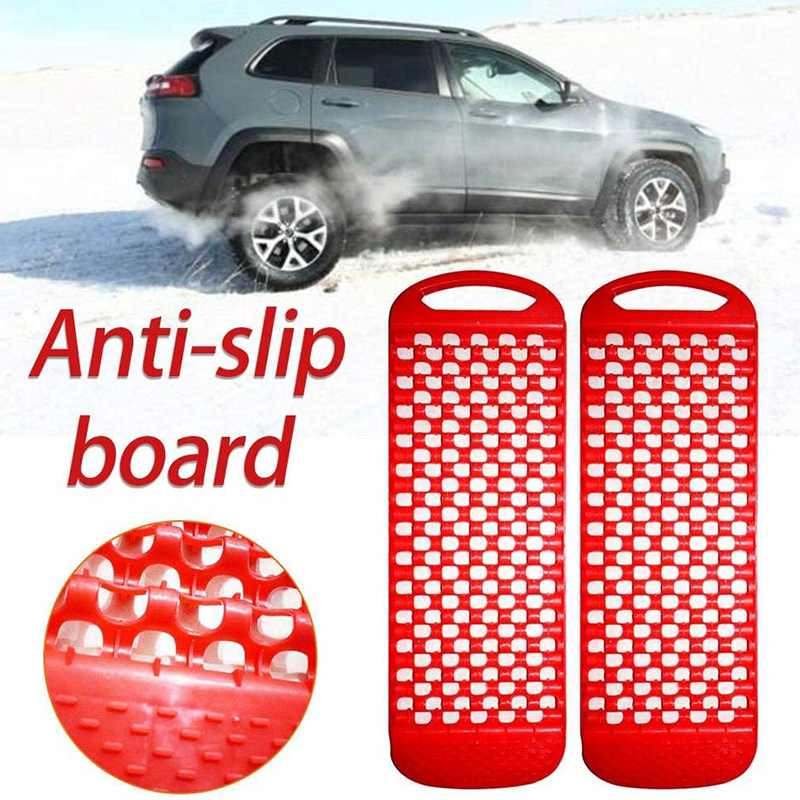 2Pcs Universal Car Emergency Rescue Anti-Skid Board Recovery Tracks Road Tyre Ladder Sand Mud Snow