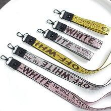 Off White Брелки для женщин лента брелок Porte Clef чехол для телефона Брелоки держатель для ключей трендовые ювелирные изделия аксессуары письмо тесьма
