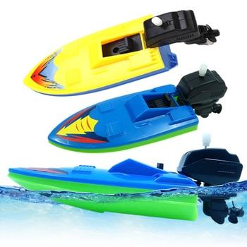 Bath Foating Toys Motorboat Ship Children's Clockwork Classic Water Toy Baby Wind Up Clockwork Kids Beach Swim Educational Toy недорого