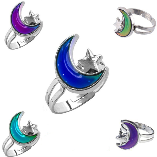 Cute Color Change Mood Ring Emotion Feeling Changeable Kids Cartoon Rings Alloy Child Jewelry Gift Adjustable Rings