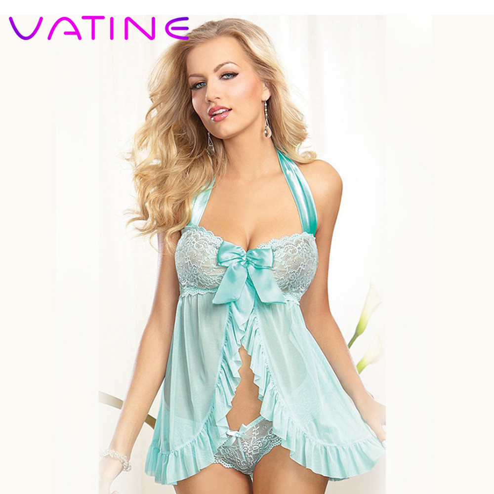 VATINE Lace See-through Sleepwear Ladies <font><b>Dress</b></font> and Thong set Uniform Temptation Sexy Lingerie <font><b>Adult</b></font> Products <font><b>Sex</b></font> Costumes image