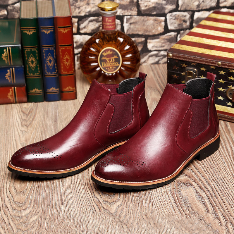 Spring Winter Fur Men 39 s Chelsea Boots British Style Mens Ankle Boots Black Brown Red Soft Microfiber Leather Casual Shoes Men in Chelsea Boots from Shoes