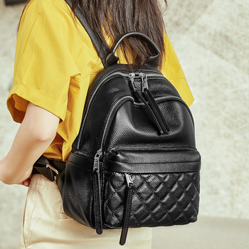 Vintage Women Backpack Genuine Leather Diamond Lattice Daily Casual Travel Bag High Quality Black Schoolbag For Student Girls