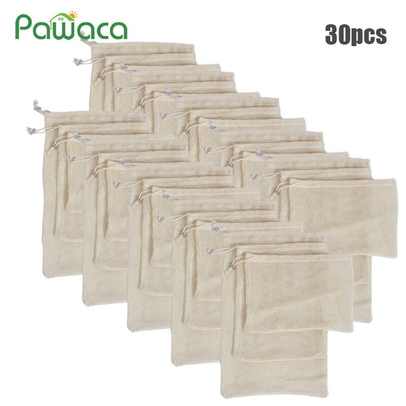 30pcs 15pcs Produzir Sacos Reutilizáveis Lavável Sacos de Malha de Algodão Orgânico para as Compras De Supermercado Frutas Vegetais Saco de Armazenamento Organizador