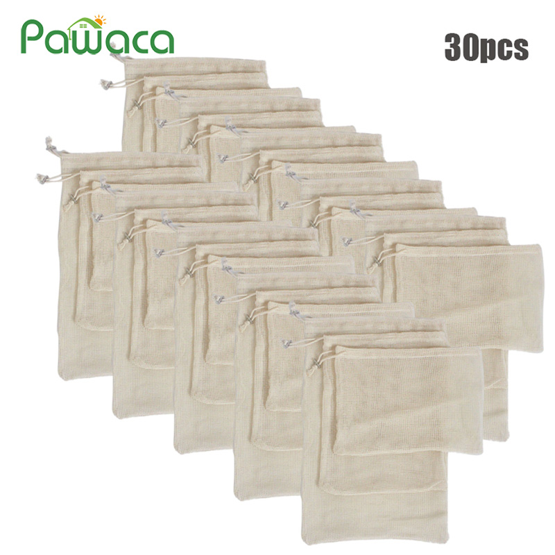 30pcs 15pcs Reusable Produce Bags Organic Cotton Washable Mesh Bags For Grocery Shopping Fruit Vegetable Organizer Storage Bag