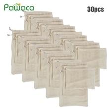 Sacos reutilizáveis de algodão orgânico, 30 peças de sacos de malha lavável para mercearia, compras, vegetais, organizador, saco de armazenamento