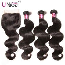 Волосы UNICE, бразильские объемные волнистые, 3 пряди, с закрытием, человеческие волосы, пряди с закрытием, 8-30 дюймов, волосы remy, Черная пятница, предложения