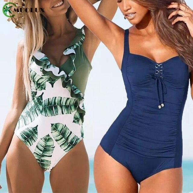 Bikini 2020 Push Up Een Stuk Sexy Badmode Badpak Monokini Bodysuit Beach Tummy Controle Badpak Vrouwen Plus Size Xxl