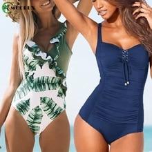 Bikini 2020 Push Up une pièce Sexy maillots de bain maillot de bain Monokini body plage ventre contrôle maillot de bain femmes grande taille XXL