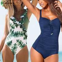 MUOLUX Bademode Frauen 2020 Ein Stück Plus Size Badeanzug Push-Up Badeanzug Monokini Body Strand bauch-steuer Schwimmen SuitXXL