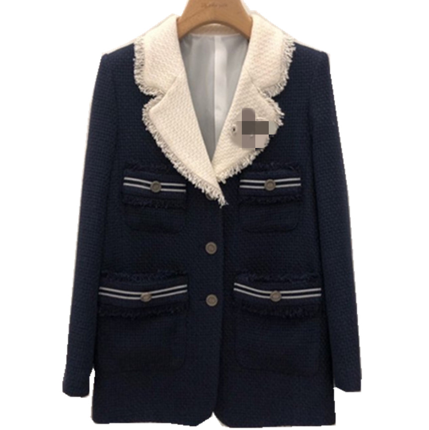 Spring Autumn Tweed Blazer Women Notched Loose Single Breasted Small Fragrance Suit Jacket Plus Size